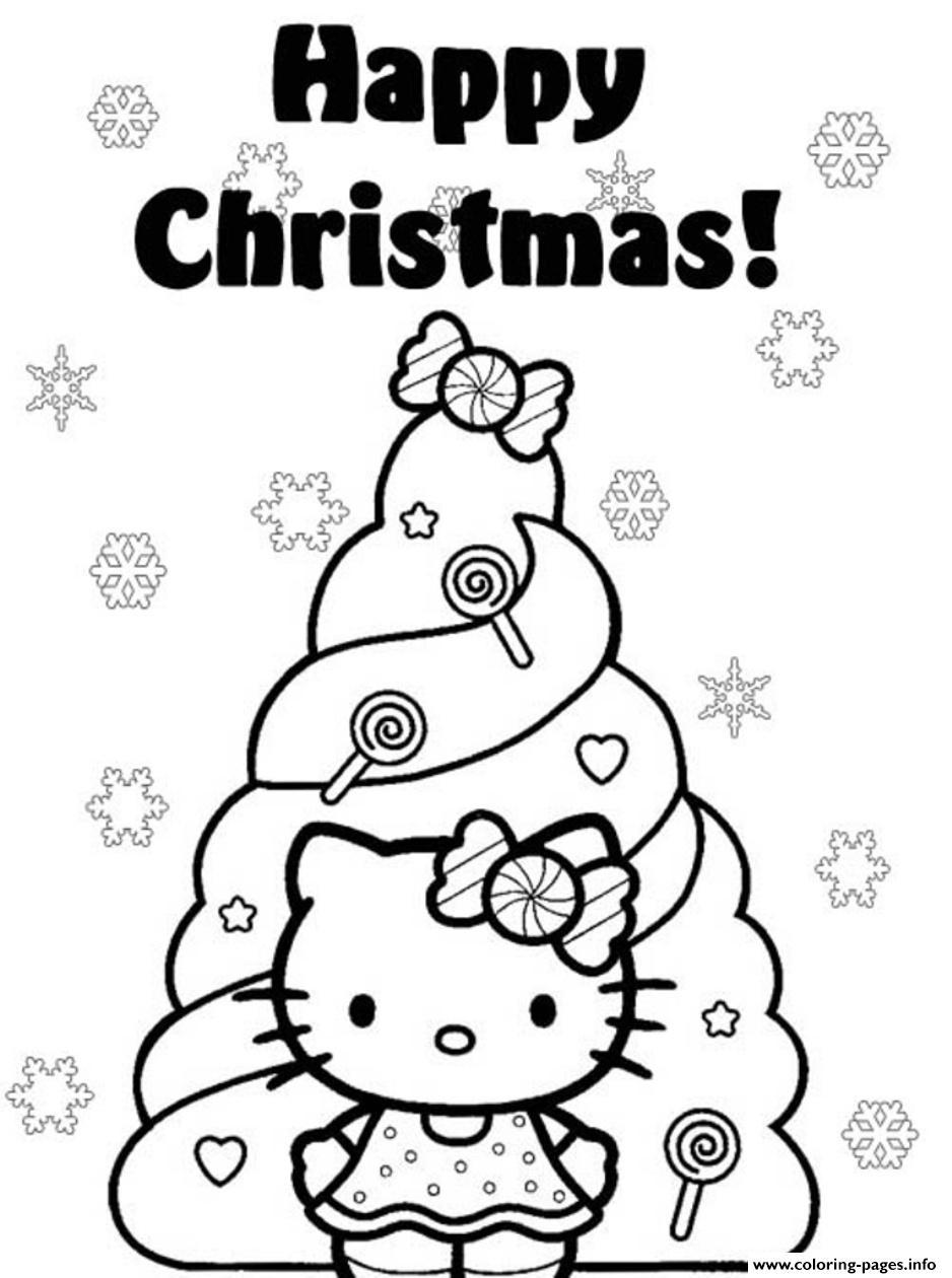 Happy christmas hello kitty s christmas tree0e4e coloring pages printable