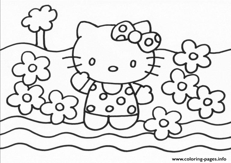 Hello Kitty With Flowers 85d0 coloring pages