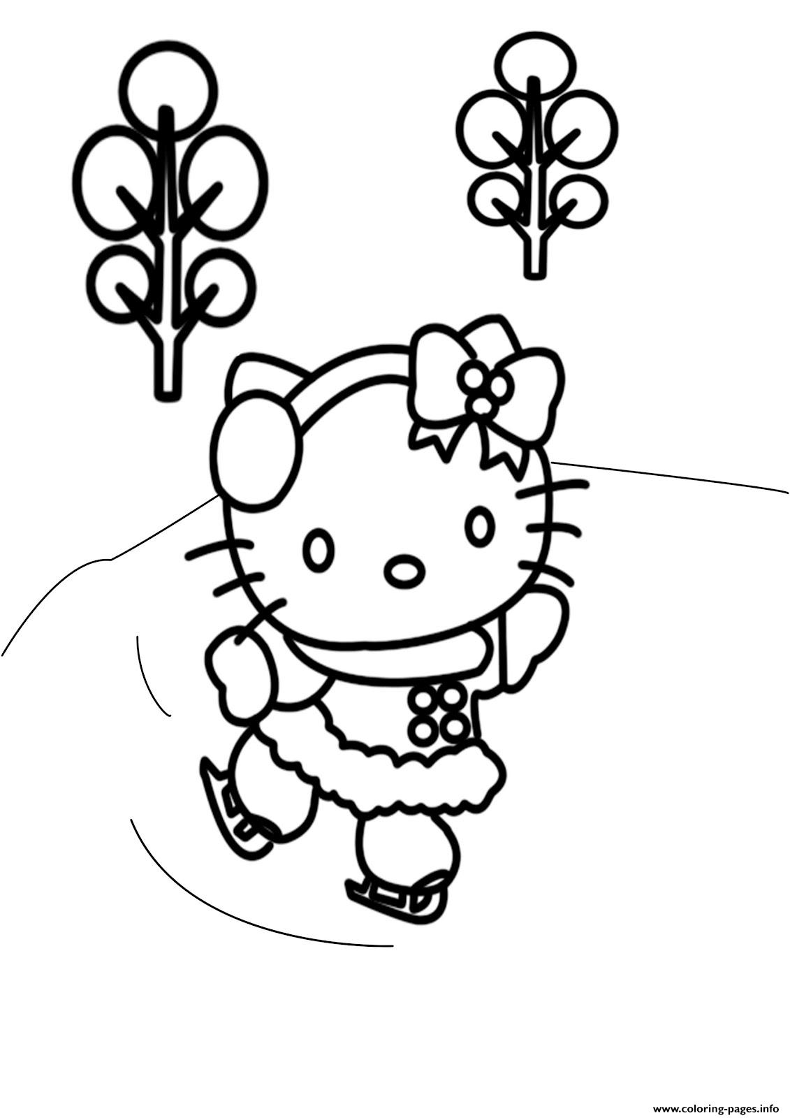 Free Winter S Hello Kitty Skatingb521 coloring pages