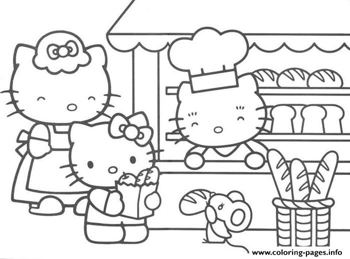 Hello Kitty In A Bakery Df11 coloring pages