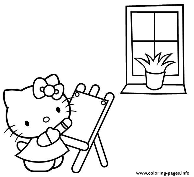 Hello Kitty Painting Free Be53 Coloring Pages Printable