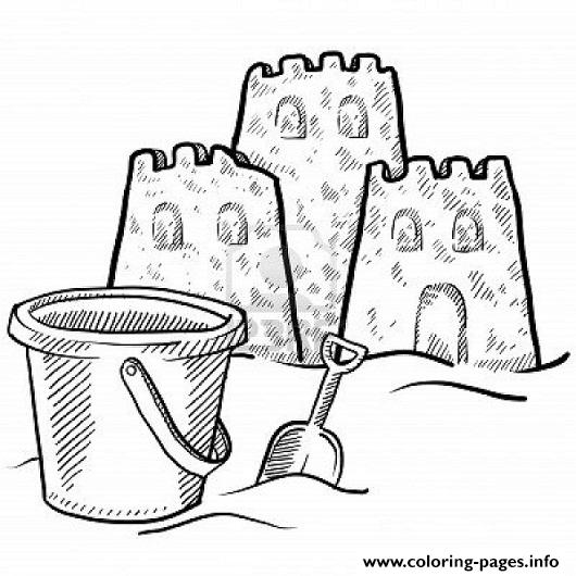 Sand Castle And A Bucket Coloring Pagef7cb Coloring Pages Printable