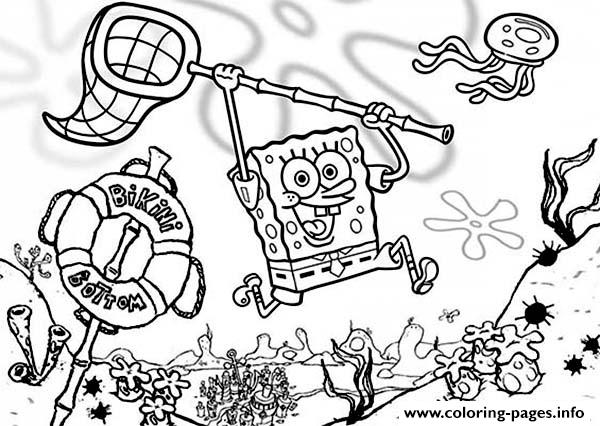 Cartoon Spongebob Hunting Jellyfish S17a1 Coloring Pages