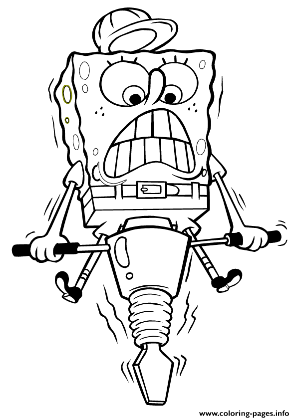 spongebob working hard coloring page05ee coloring pages - Hard Coloring Pages