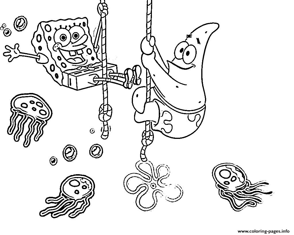 Coloring Pages For Kids Spongebob Patrick And Jellyfishd4f5 Coloring