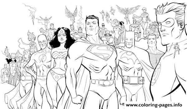 All Heroes Including Superman S For Printe4af coloring pages