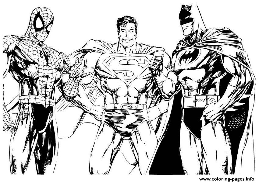 Spiderman And Batman And Superman 6484 coloring pages