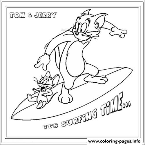 Tom And Jerry Surfing 94b4 Coloring Pages Printable