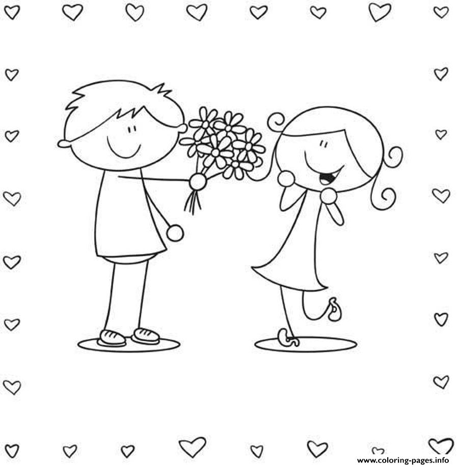 Boy And Girl Valentine 2d96 coloring pages