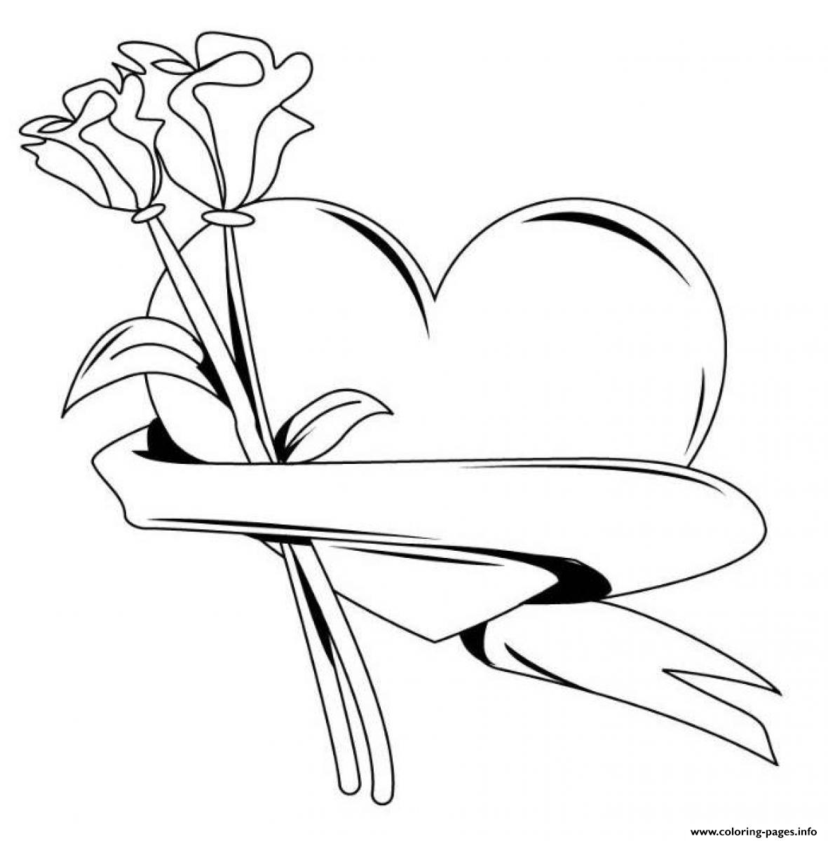 Heart With Roses Valentines S516b Coloring Pages Printable