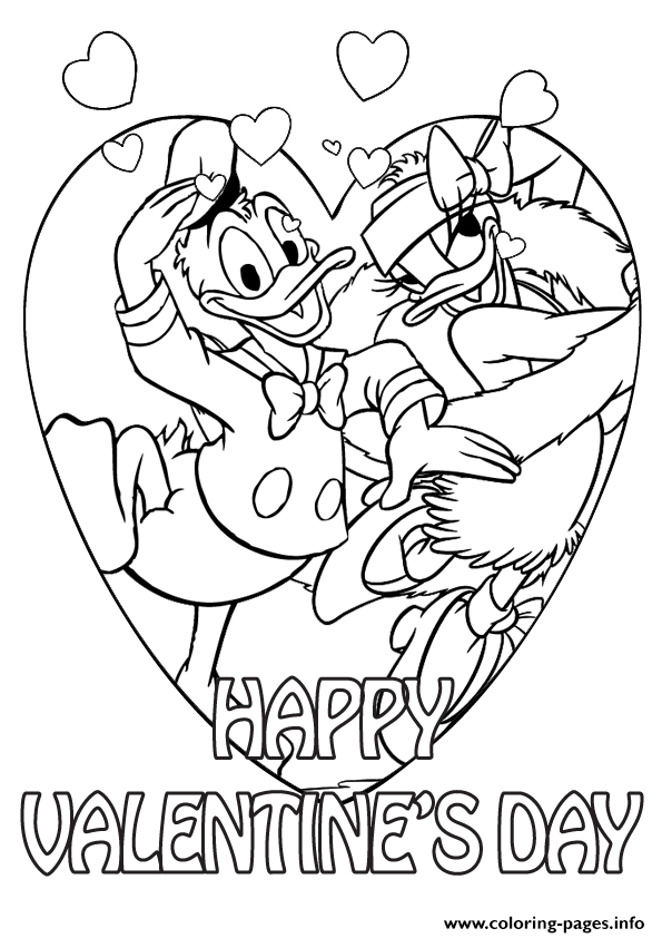 Donald duck and daisy on valentine day disney sf960 for Valentine day coloring pages printable