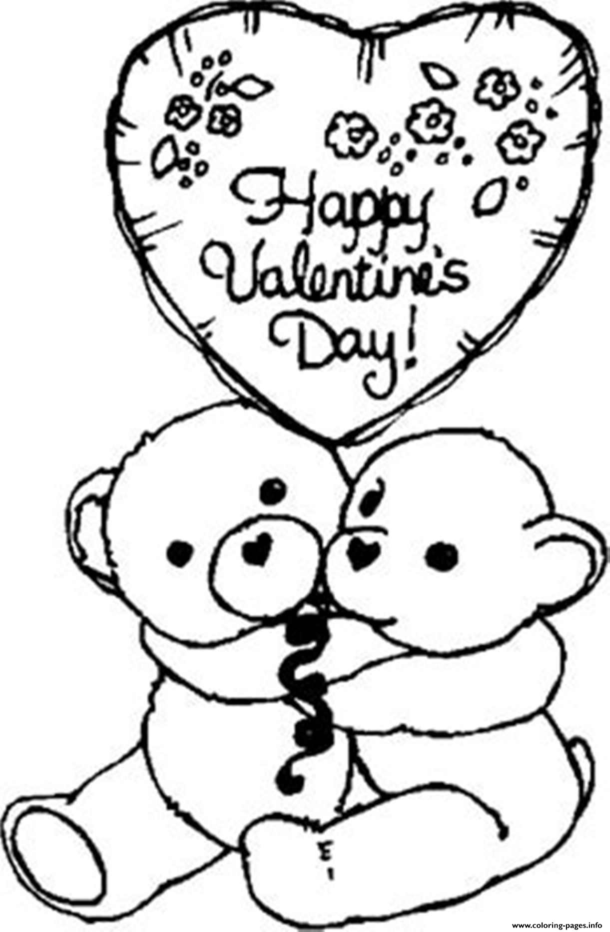 Bears Happy Valentine 59f4 Coloring Pages Printable
