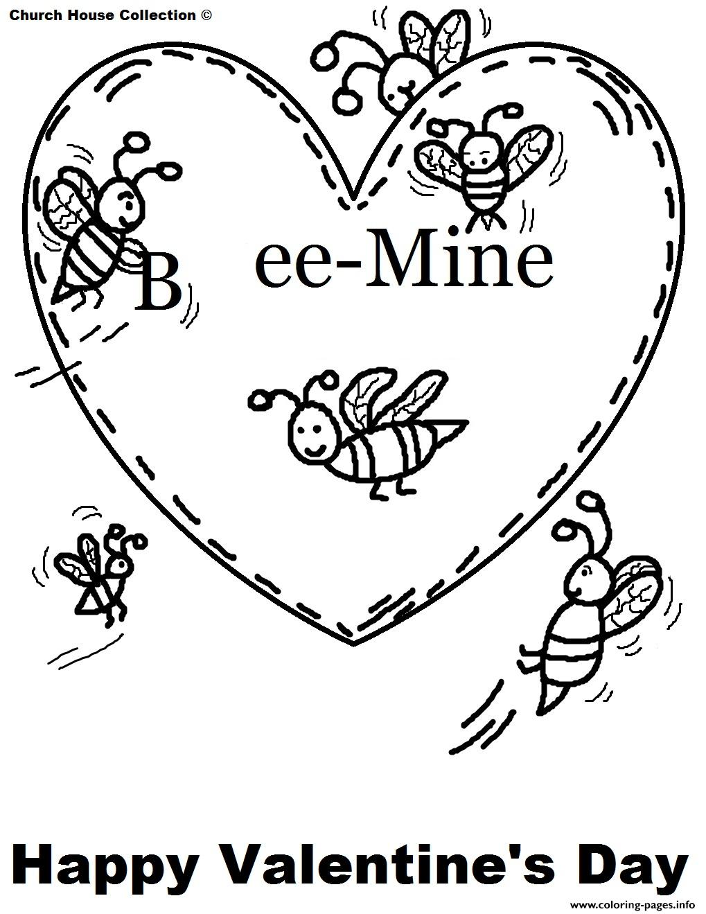 Bee Mine Free Valentines S0211 coloring pages