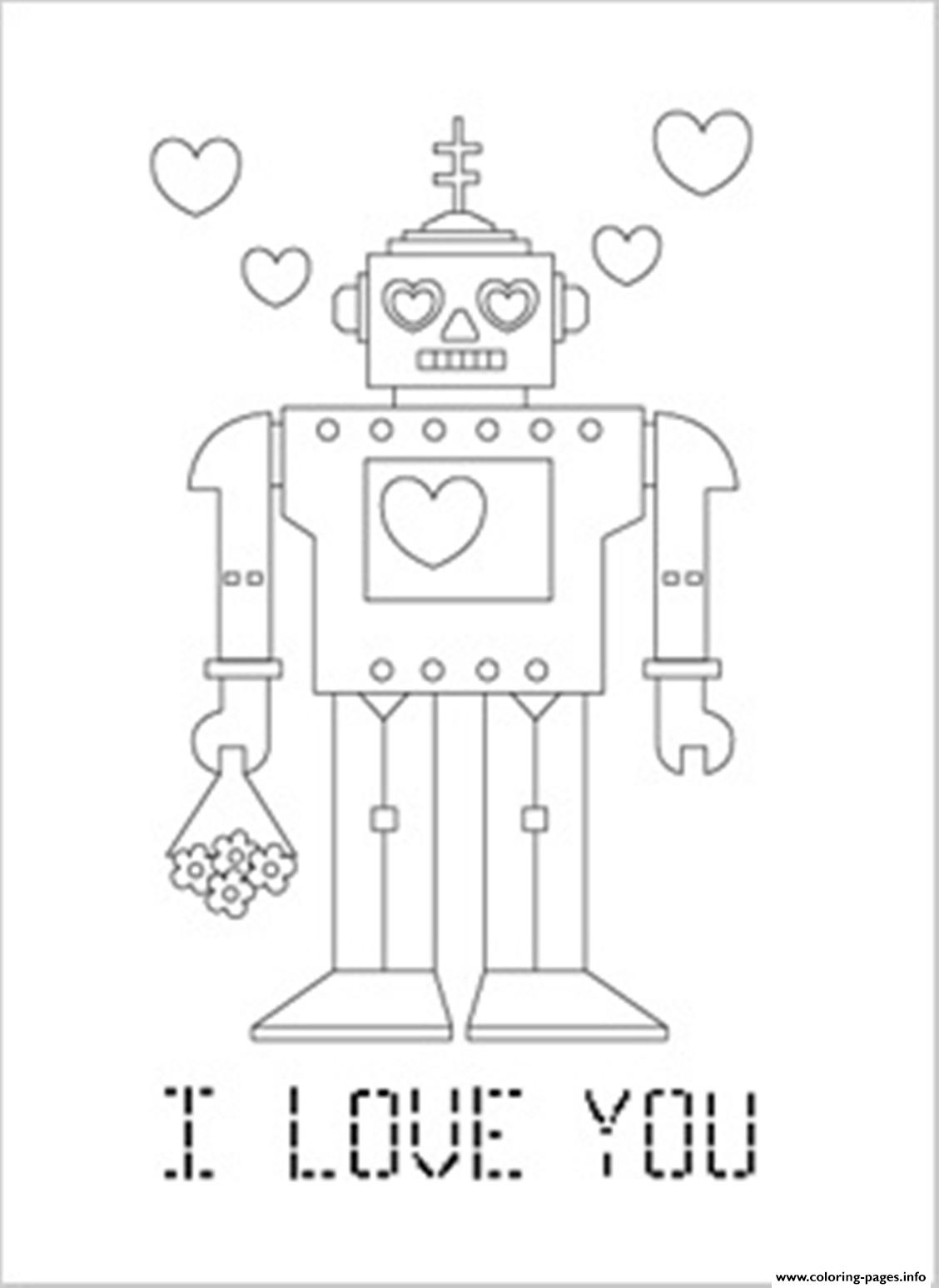 Robo I Love You Valentine E985 coloring pages