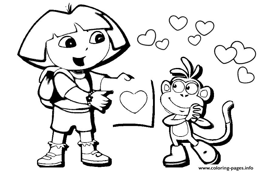 Dora And Boots Valentine S0624 Coloring Pages Print Download