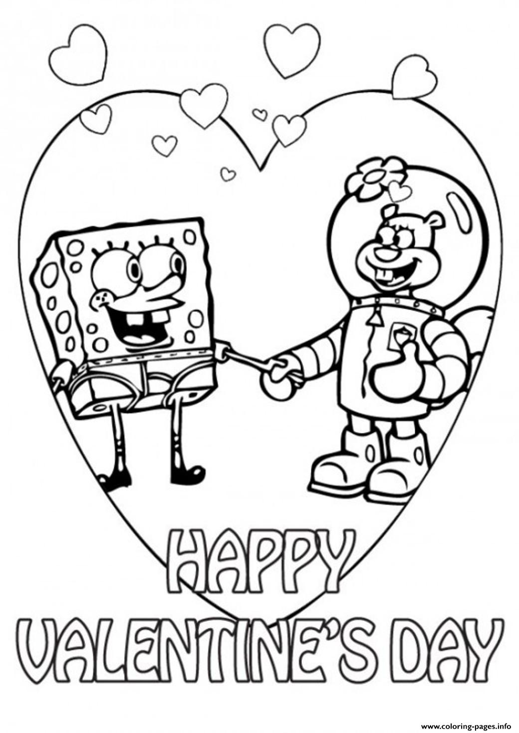 Spongebob And Sandy Valentine Scc59 Coloring Pages Printable