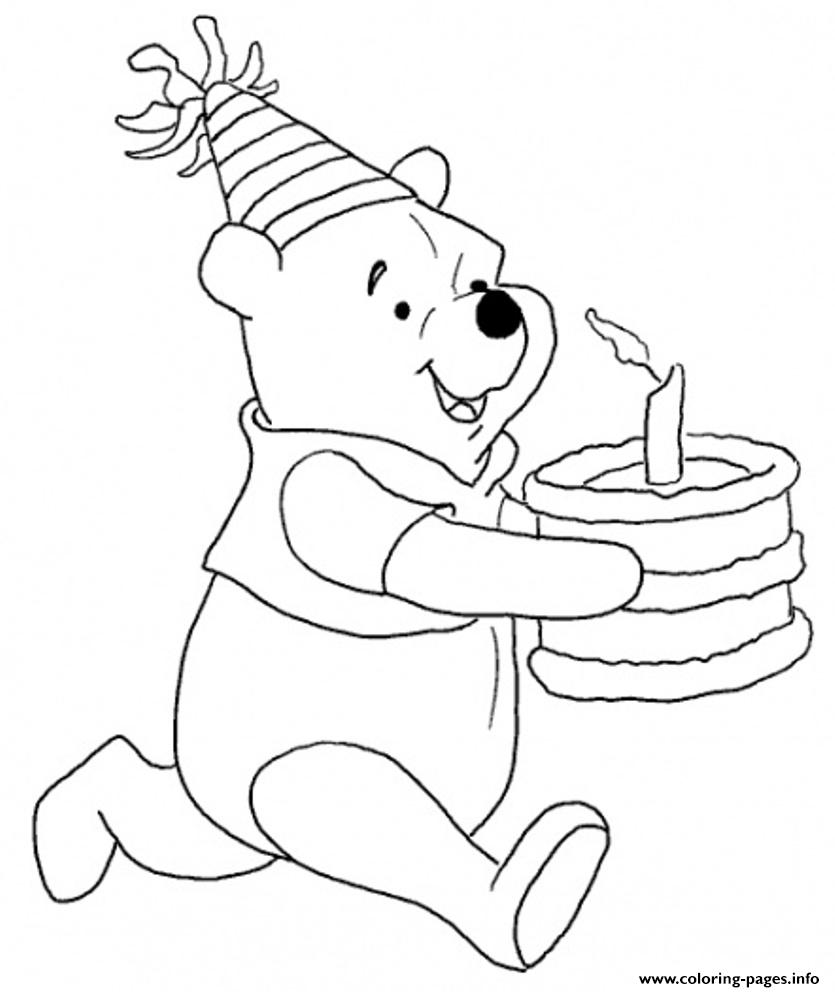Winnie Bring The Cake Free Birthday Sb363 coloring pages