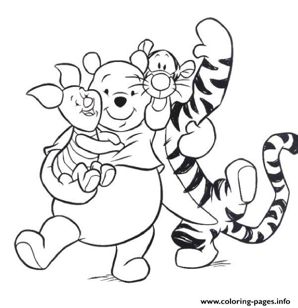 tiger piglet and pooh hugging each other pagef186 coloring pages print download 429 prints 2016 01 04 winnie the pooh coloring pages - Pooh Bear Coloring Pages Print