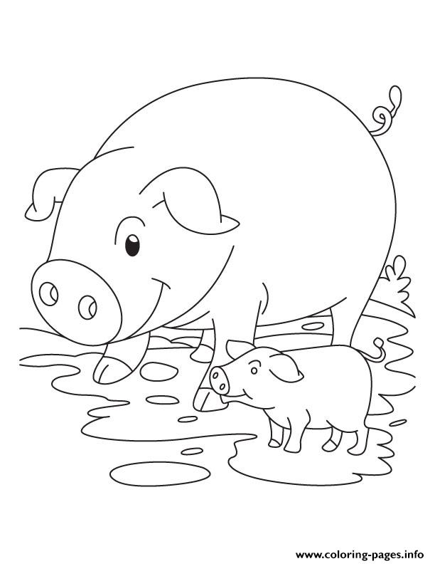 Cute Pig And Piglet S5ee1 Coloring Pages Printable
