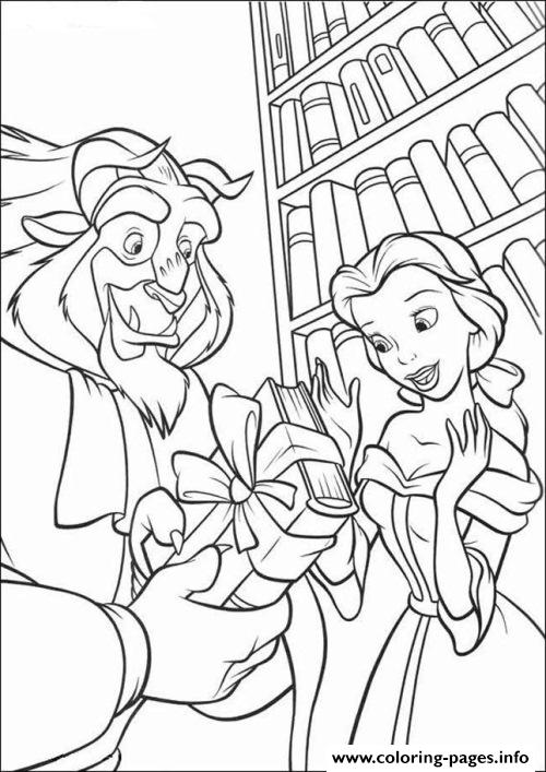 Belle And Beast In Library Disney Princess F9c8 Coloring Pages Printable