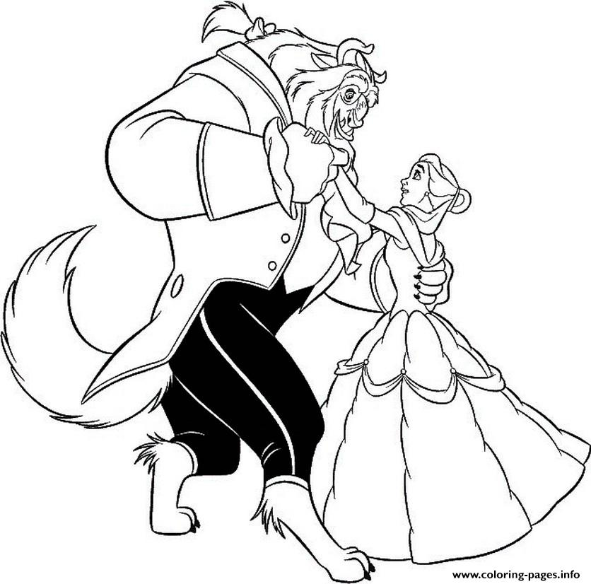 Belle Dancing With Beast S965b Coloring Pages Printable