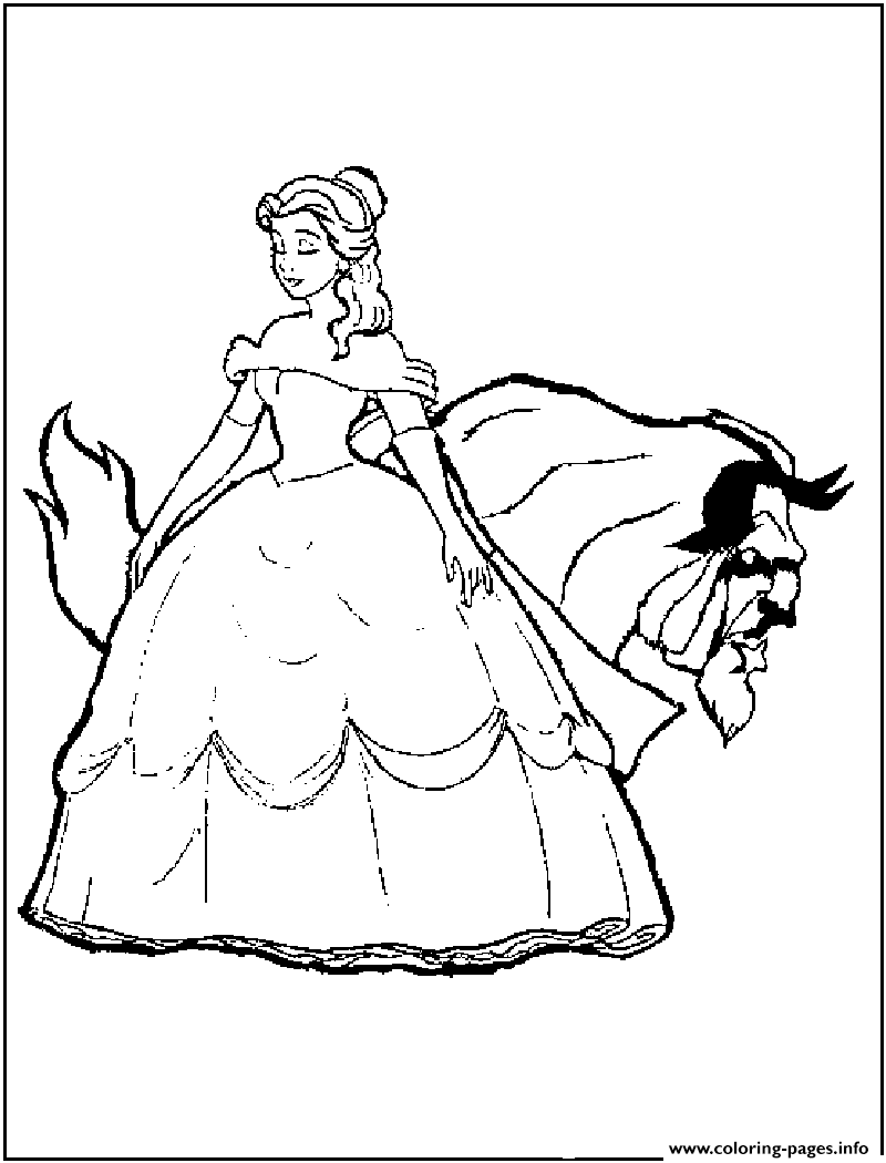 Beauty Belle And Beast Disney Princess B4fd Coloring Pages Printable