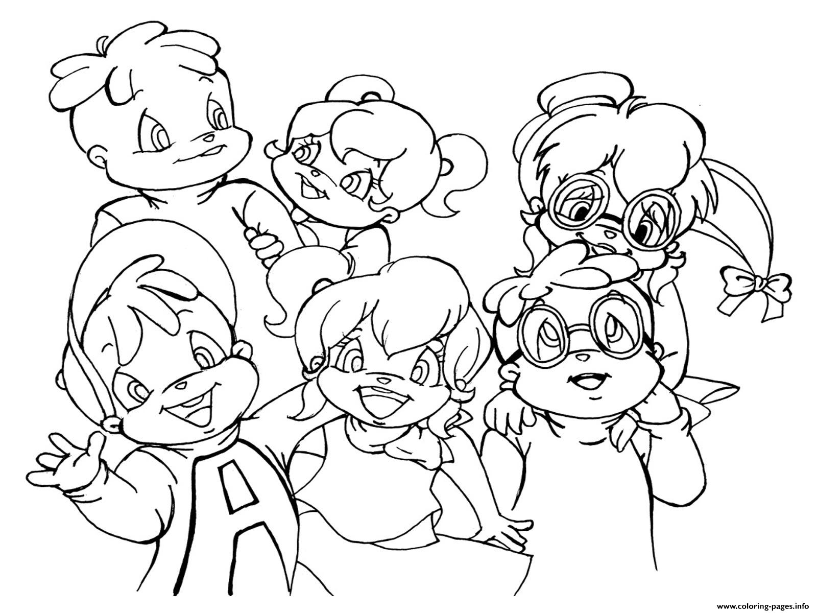 chipmunks coloring pages free - alvin and the chipmunks and chipettes s8fa2 coloring pages