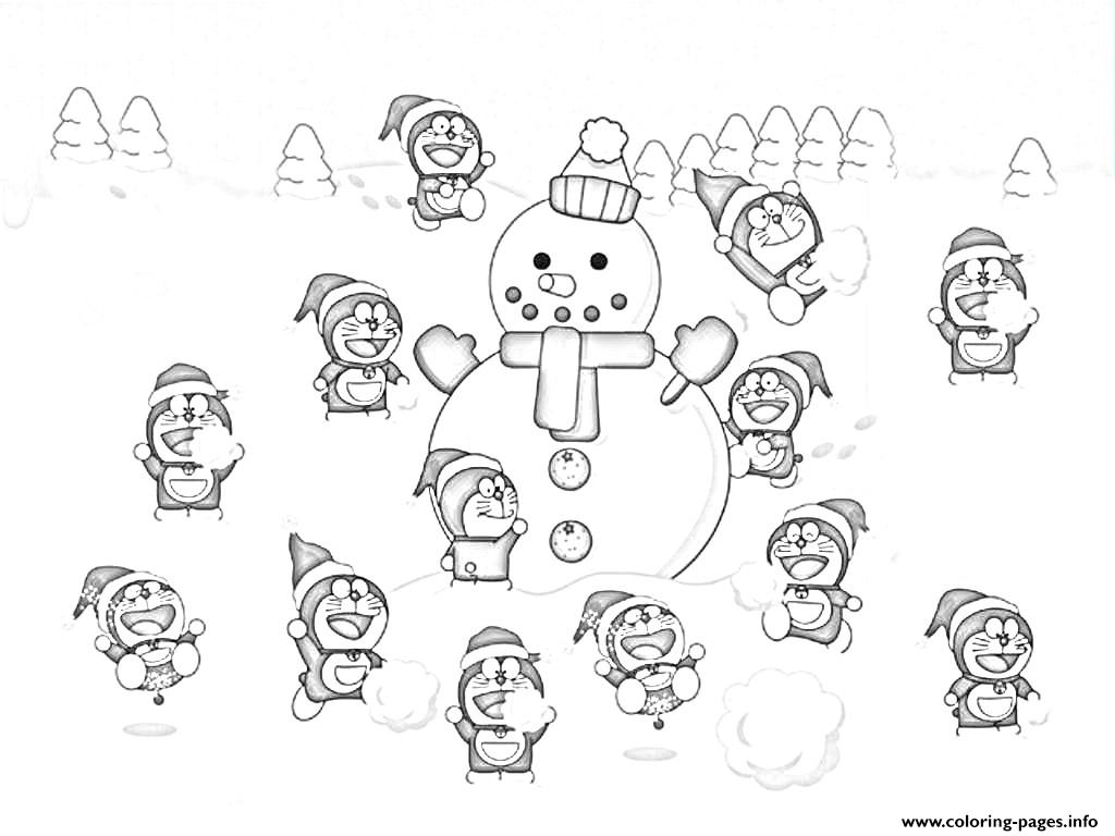 doraemon and snowman s to print6fd3 coloring pages printable