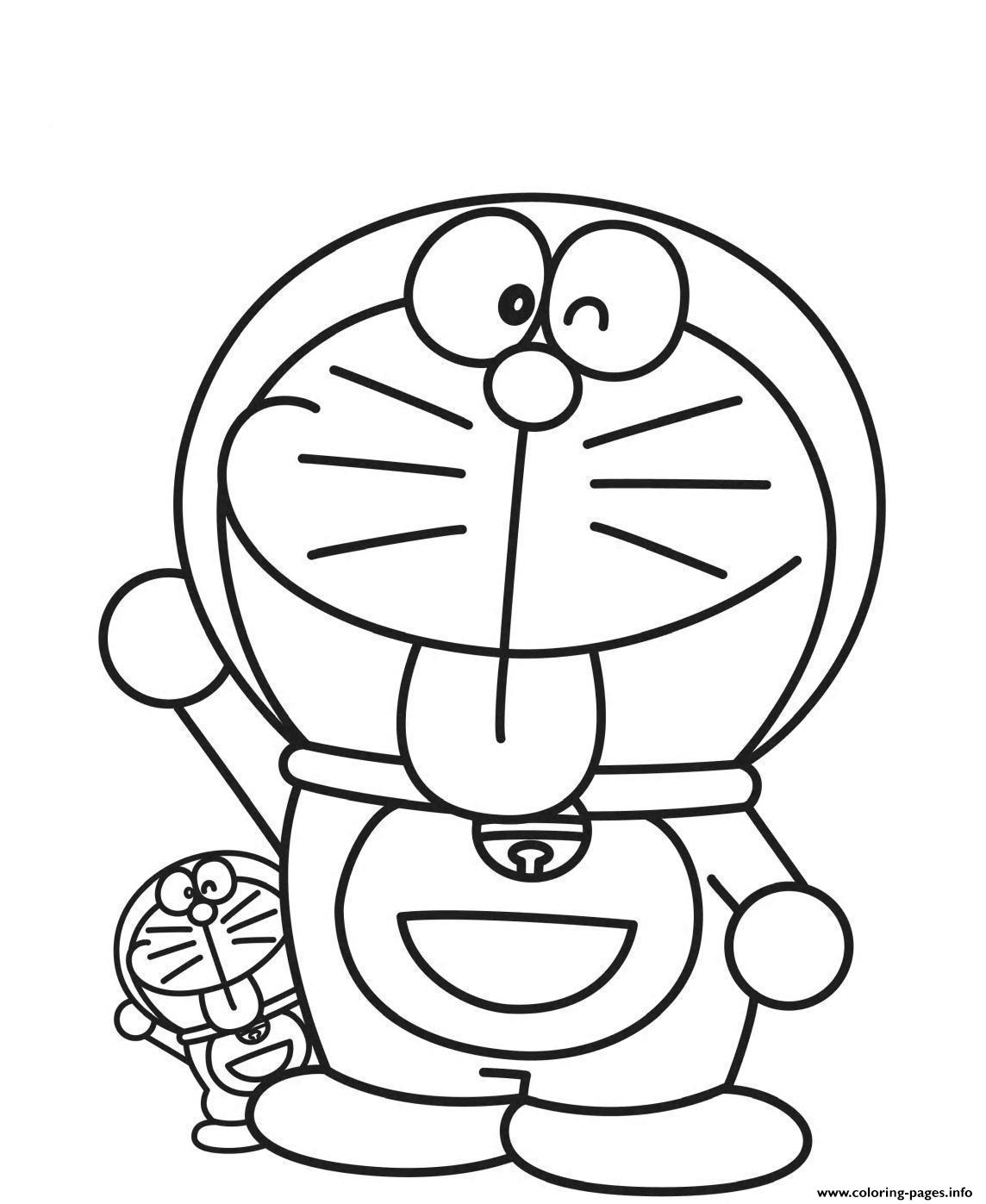 Big And Litte Doraemon Cartoon S615a Coloring Pages Print Download