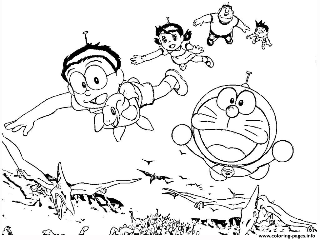Dibujos Para Colorear De Doraemon Y Sus Amigos Para Imprimir: Doraemon With Dinosaurs 61a2 Coloring Pages Printable