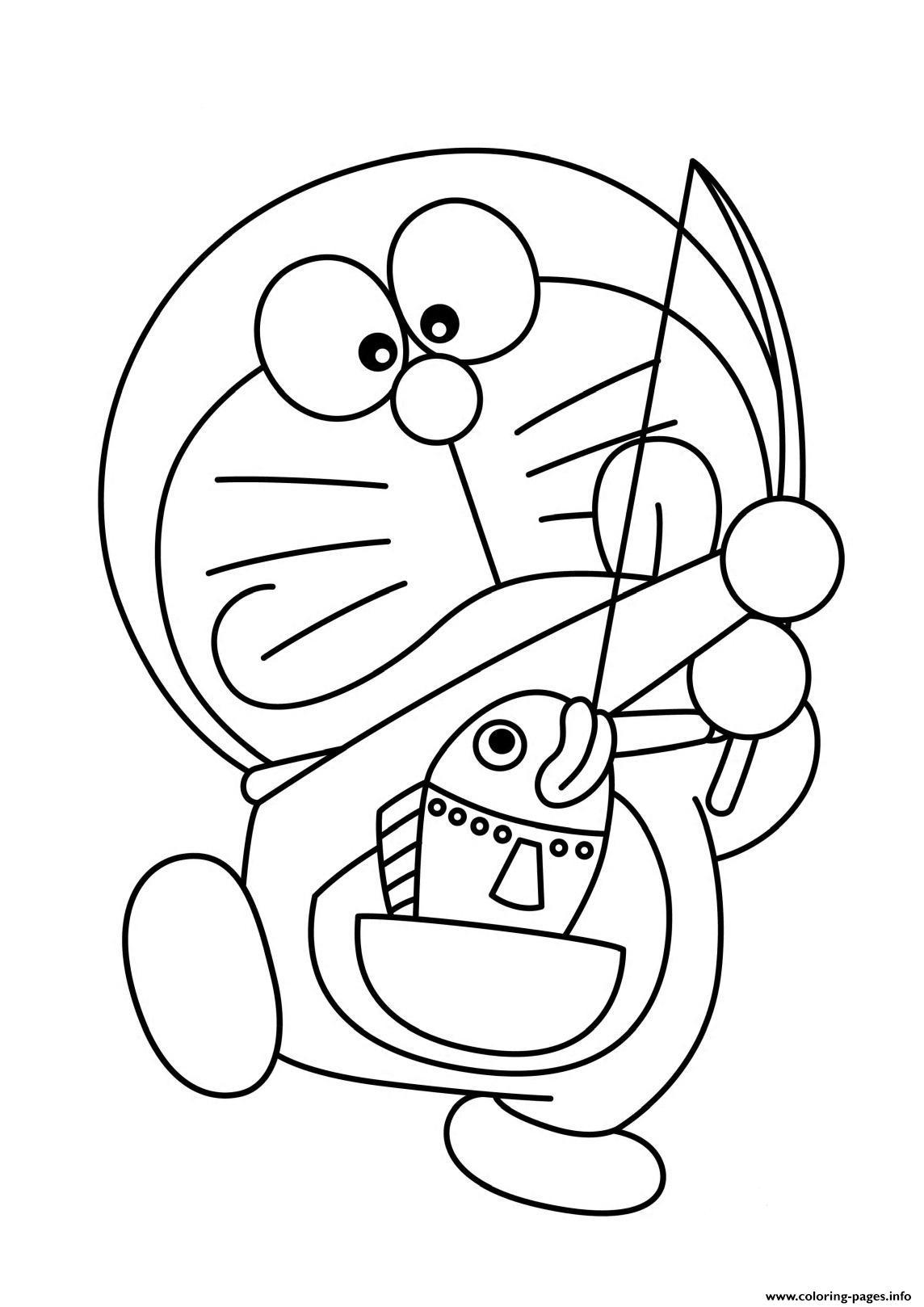 Cartoon S Doraemon Fishingb0ed Coloring Pages Printable