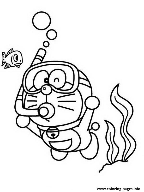 Doraemon Diving 25f6 Coloring Pages