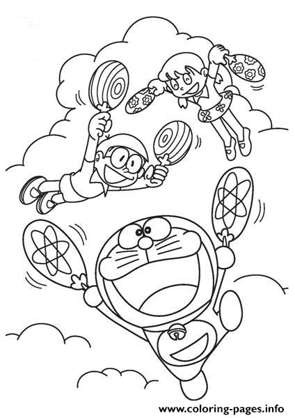 Doraemon Flies With Fan 1d86 Coloring Pages