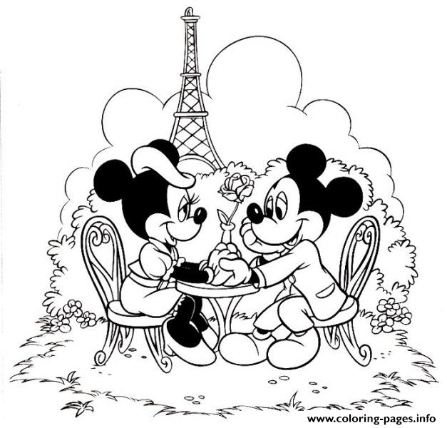 Mickey And Minnie In Paris Disney 66a1 coloring pages