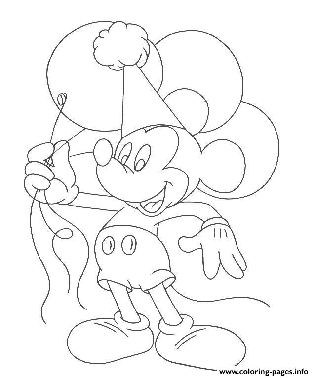 Mickey Holds Balloons Disney 899f coloring pages