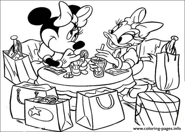 Minnie And Daisy In A Cafe Disney B629 Coloring Pages Printable