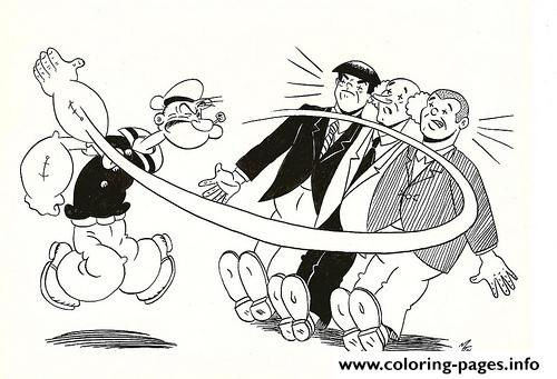 Popeye Slapping People 4139 Colouring Print Coloring Pages
