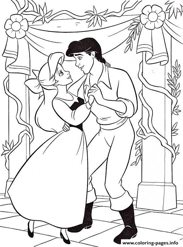 Ariel Dancing With Eric Little Mermaid Sad91 Coloring Pages Printable