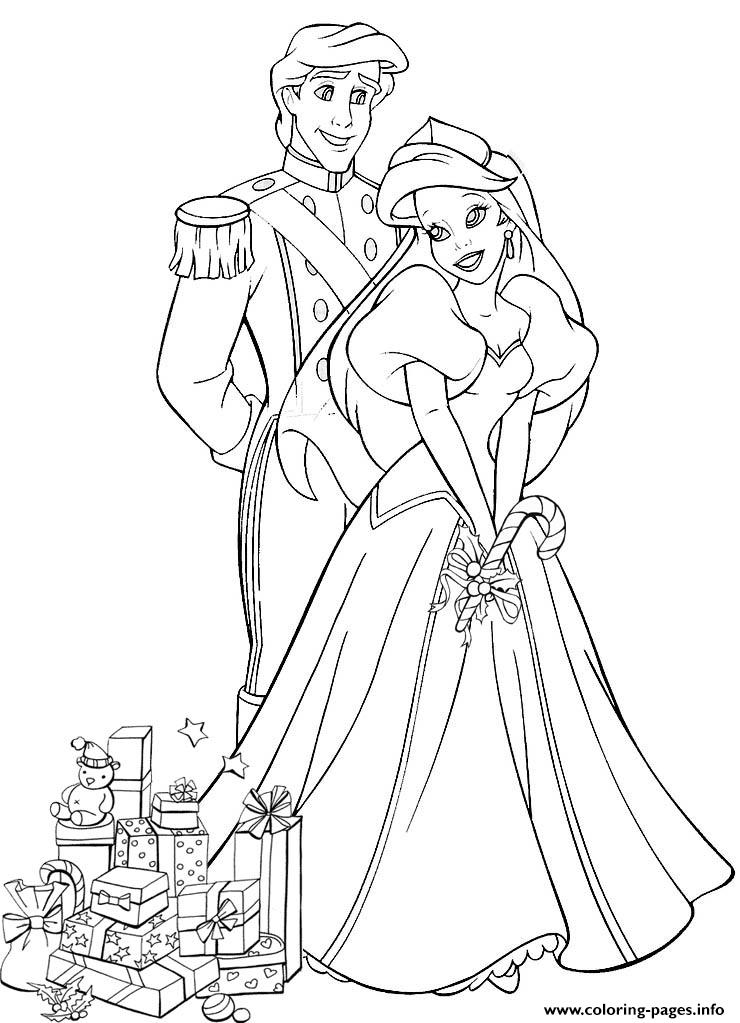 Ariel And Eric With Wedding Gifts Disney Princess S64c7 Coloring Pages Printable