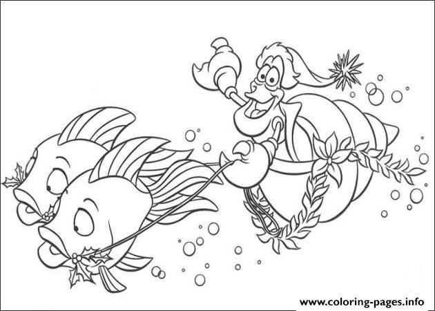 Sebastian Riding Fishes Little Mermaid Disney 054b Coloring Pages
