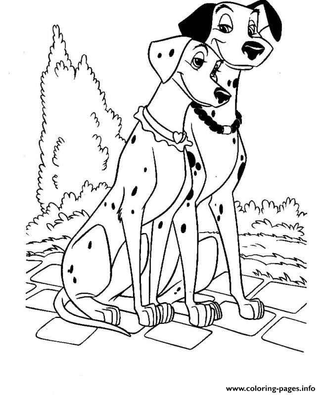Romantic Dalmatian Couple 21b1 Coloring Pages Printable