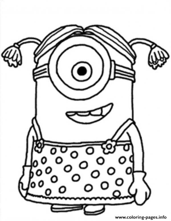 little girl the minion coloring pages printable