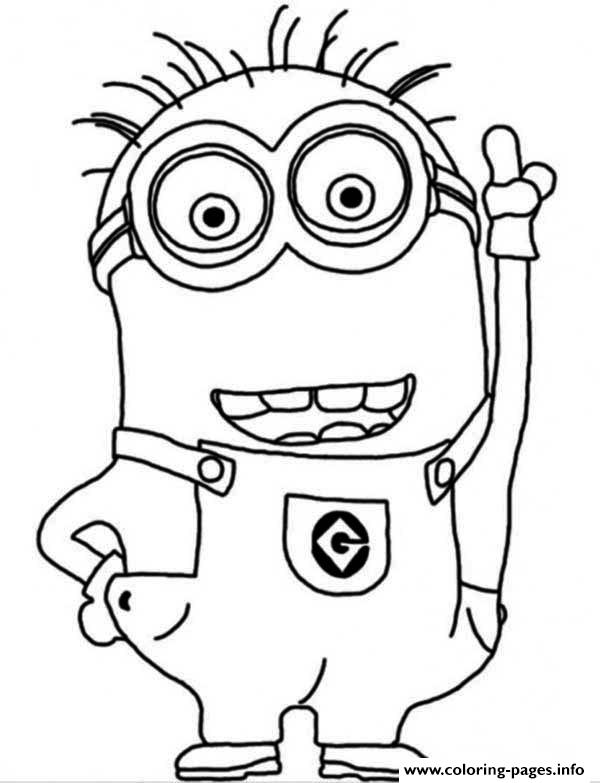 Crazy Dave The Minion Coloring Page Pages Printable