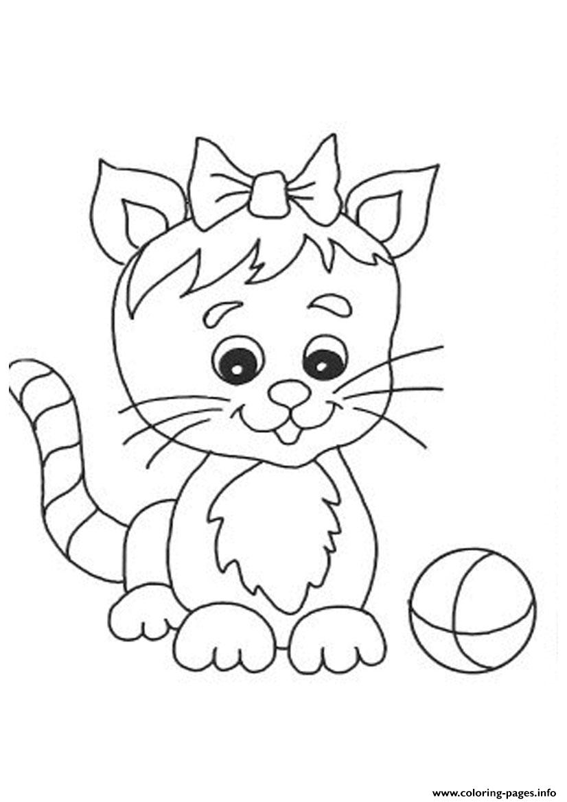 Print Cute Cat With Small Ribbon 8c46 Coloring Pages Free
