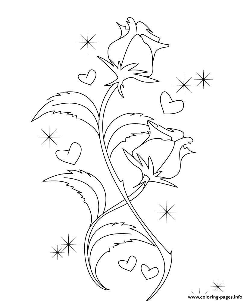 Cute Roses Valentines S786e coloring pages