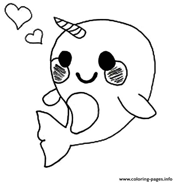 Cute Baby Narwhal Coloring Page Coloring Pages Printable Colouring Pages