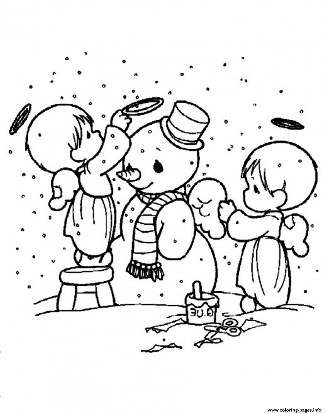 Snowman S Cute Angels Decorating Snowman5a20 Coloring