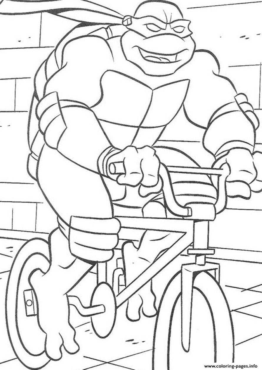 Free Superhero S Ninja Turtle Riding Bicycle6cf5 coloring pages