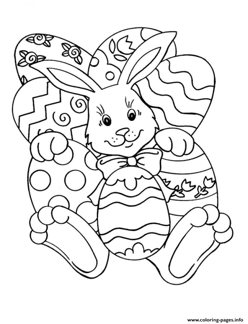 Easy Easter S Bunny And Eggs18f18 Coloring Pages Printable
