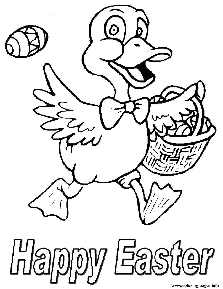 Happy Easter S Ducks Hunting Eggs52e7 Coloring Pages Printable